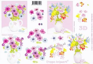 Flower Bouquets In Vases 3d Decoupage Sheet